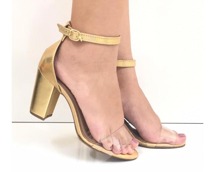 Sandália Thonphill salto alto dourado com transparente